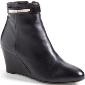 AGL Wedge Leather Heeled Boot Bootie Black 35